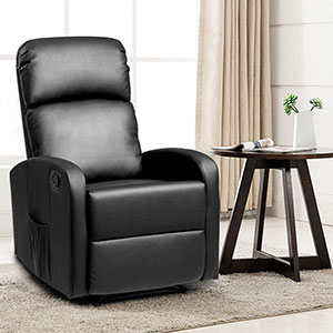 Giantex Manual Recliner Chair PU Leather Padded Seat Modern Chaise Couch Lounger Sofa
