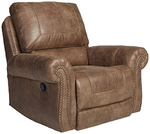 Larkinhurst Contemporary Faux Leather Rocker Recliner with Nailhead Trim