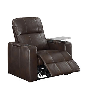 "Human Touch Perfect Chair ""PC-420"" Premium Full Grain Leather Hand-Crafted Zero-Gravity Walnut Manual Recliner"